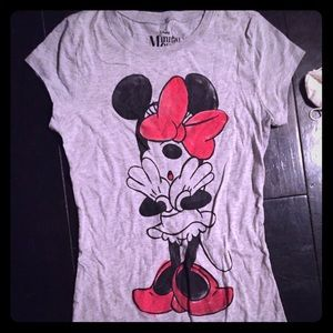 Disney Minnie Mouse bow t shirt xs new gray